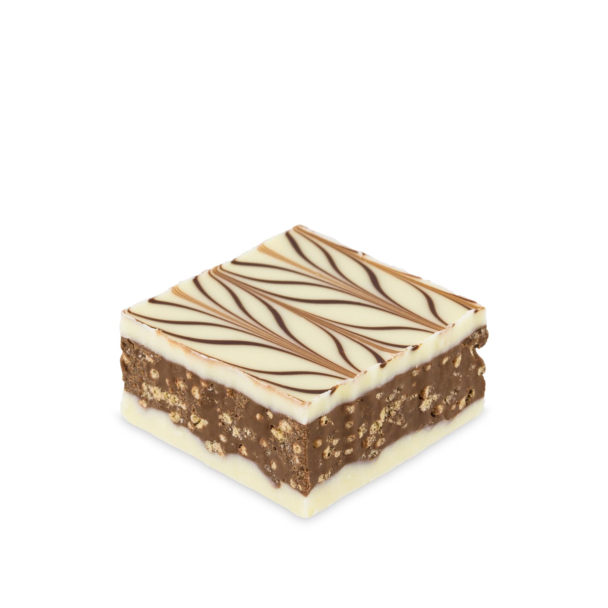 BOUCHEE CROQUANTINE IVOIRE - Gianduja noir et céréales croustillantes, enrobé de chocolat blanc et décoré de chocolat noir. Notes de fruits secs. Texture fine et croustillante.