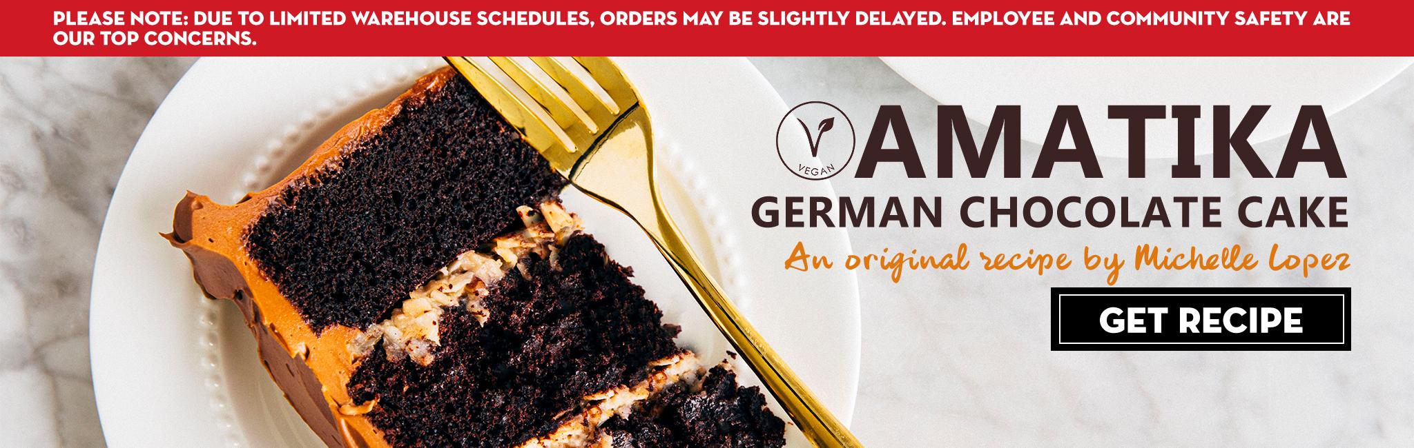 AMATIKA VEGAN GERMAN CHOCOLATE CAKE