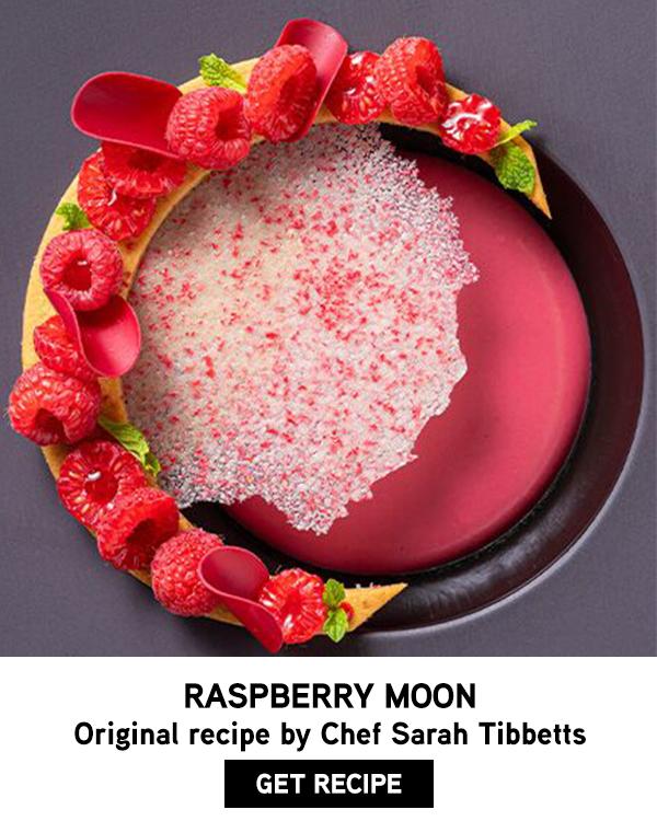 Raspberry Inspiration plated moon dessert recipe